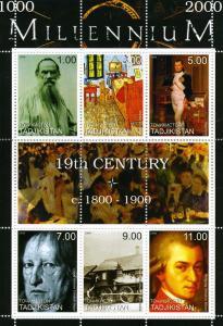Tajikistan 1999 MILLENNIUM 19th Century sheet + Label Perforated Mint (NH)