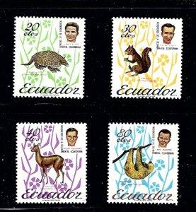 Ecuador 726-28/730 MHR 1965 Animals part set