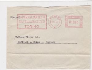 Italy 1950 Slogan Machine Torino Cancel Camera Di Commercio Stamps Cover R18627