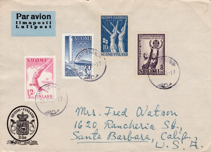 Finland 1951 Cover Mariehamn to Calif. Nice Sports/Olympics Combination Cover