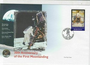 bahamas 30th anniversary moon landing stamps cover 1999 ref 19476