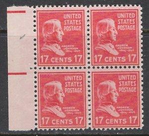 U.S. 822 MNH 1938 Andrew Johnson Block of 4 (ap7241)