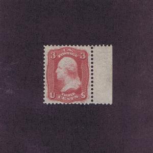 SC# 65-E15h ESSAY UNUSED OG PH 3c RT MARGIN SINGLE, 1861, 2017 PF CERT.