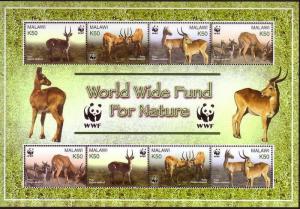 Malawi WWF Puku Sheetlet of 2 sets SG#1013-1016 MI#721-724 SC#714 a-d