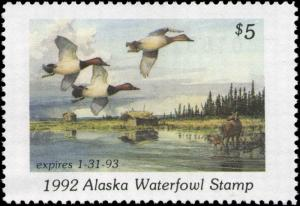 ALASKA #8 1992 STATE DUCK CANVASBACKS by Fred W. Thomas