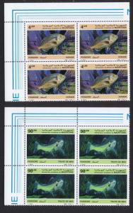 Mauritania Fish 2v issue 1986 Top Left Corner Blocks of 4 SG#874+877 SC#614-615
