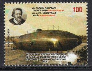 376 - NORTH MACEDONIA 2020 - The Invention of submarine by Cornelis Drebbel-MNH