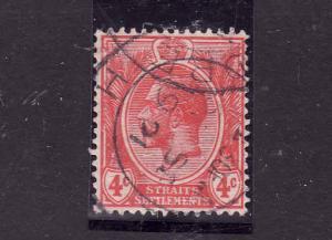 Straits Settlements-Sc #183-used-4c scarlet-KGV-1921-32-