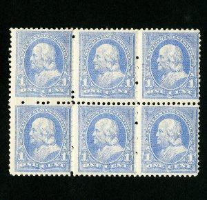 US Stamps # 246 F-VF OG NH Block 6 Fresh Few Natural Wrinkles Catalog $540.00