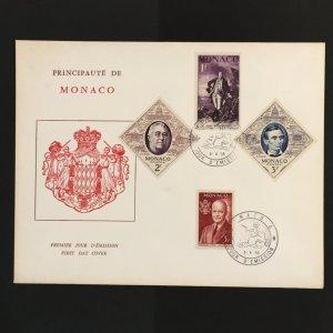 1956 Monaco Large Envelope FDC US Presidents Sc# 354-7