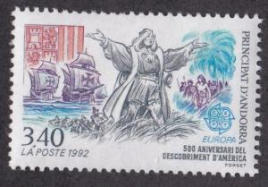French Andorra # 415, Columbus Discovers America,  NH, 1/3 Cat