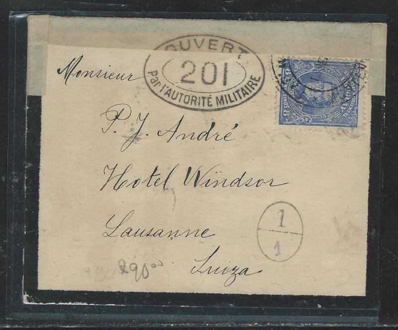 URUGUAY (P2908B) 1916 8C CENSORED   MOURNING COVER  TO  SWITZERLAND