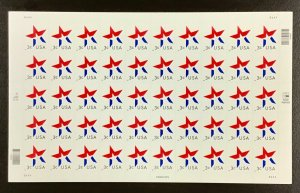 3613  3 Cent Star, date in lower Left.   MNH 3 Cent sheet of 50.   2002