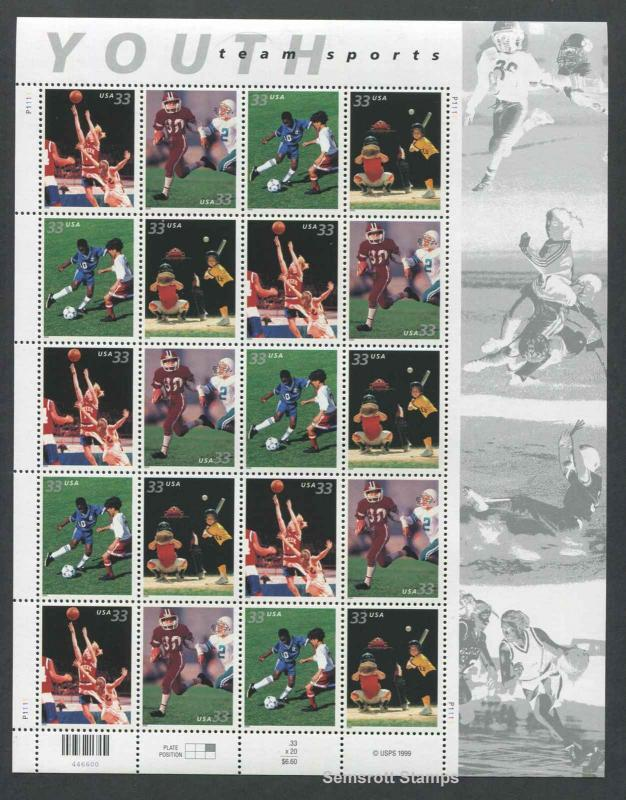 Youth Team Sports #3399-3402 33¢ 1999  Pane of 20 Football Basketball MNH