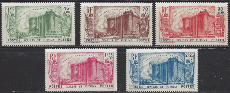 Wallis & Futuna B1-5 SG91-5 Mi82-6 YT72-6 MLH 1939 CV€125 French Revolution