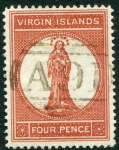 BRITISH VIRGIN ISLANDS-1887-89 4d Chestnut Sg 35 FINE USED V33665