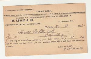 INDIA, POSTAL CARD  PTPO, 1910 1/4a., W. LESLIE & Co. CALCUTTA, used.