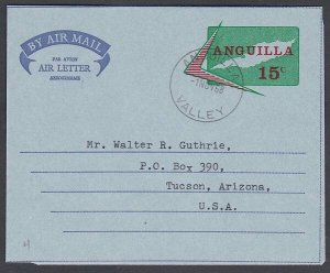 ANGUILLA 1968 15c airletter / aerogramme used ANGUILLA / VALLEY cds.........J978