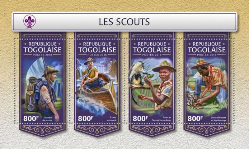 TOGO- 2018 - Scouts  - Perf 4v Sheet - MNH