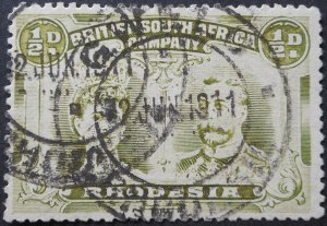 Rhodesia Double Head ½d with GWELO with blank (DC) postmark