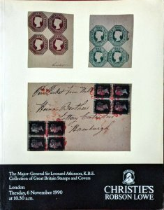 Auction Catalog Sir Leonard Atkinson Collection GREAT BRITAIN STAMPS AND COVERS