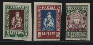 LITHUANIA, 277Ca- 277Ea, (3)SHORT SET, HINGED, 1933, ORPHANS TYPE, IMPERF