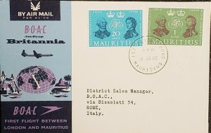 Mauritius BOAC 1962 First Flight To Rome Italy Cover