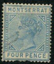 Montserrat SC# 9 (SG#9) Queen Victoria, 4d, light cancel