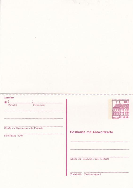 West Berlin 60pfg Prepaid Postcard with Reply Unused VGC