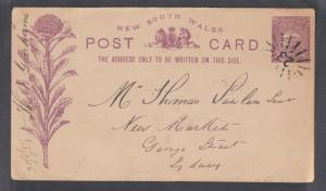 New South Wales H&G 6 used 1889 1p Postal Card with purple indicium & printing