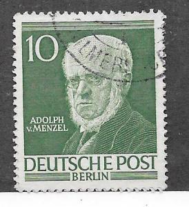 Germany #9N88  10pf Adolf Von Menzel-deep green (U) CV $0.55