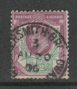 GB Edward VII 1 1/2d Purple & green Used CDS Hammersmith Broadway