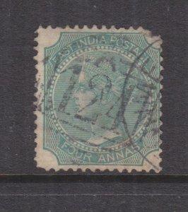 ADEN, A124 on India 1866 4a. Green..