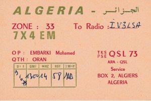 9738 Amateur Radio QSL Card ORAN ALGERIA