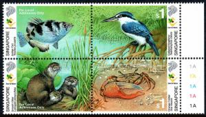 Singapore 947 Block of 4, MNH. Care for Nature. Fish,Otter,Kingfisher,Crab, 2000