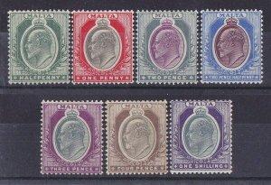 MALTA : 1903 KEVII set ½d to 1/- wmk Crown CA