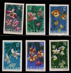 North Viet Nam Scott 406-411 Imperforate NGAI Orchid Flower set Michel 425-430