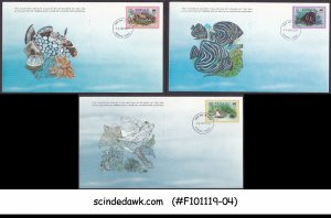 TUVALUA - 1979 FISH / MARINE LIFE - SET OF 3 FD CARDS