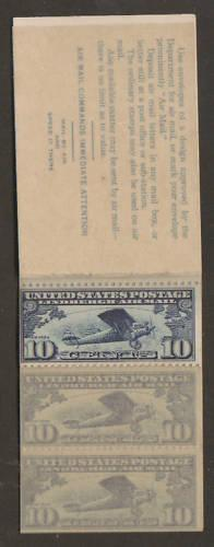 US Sc BKC1 MNH. 1928 10c Air Mail Booklet, 2 stamps missing, scarce