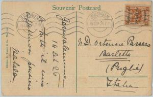 74949 - PALESTINE - POSTAL HISTORY -  7mils  on POSTCARD to ITALY -  1926