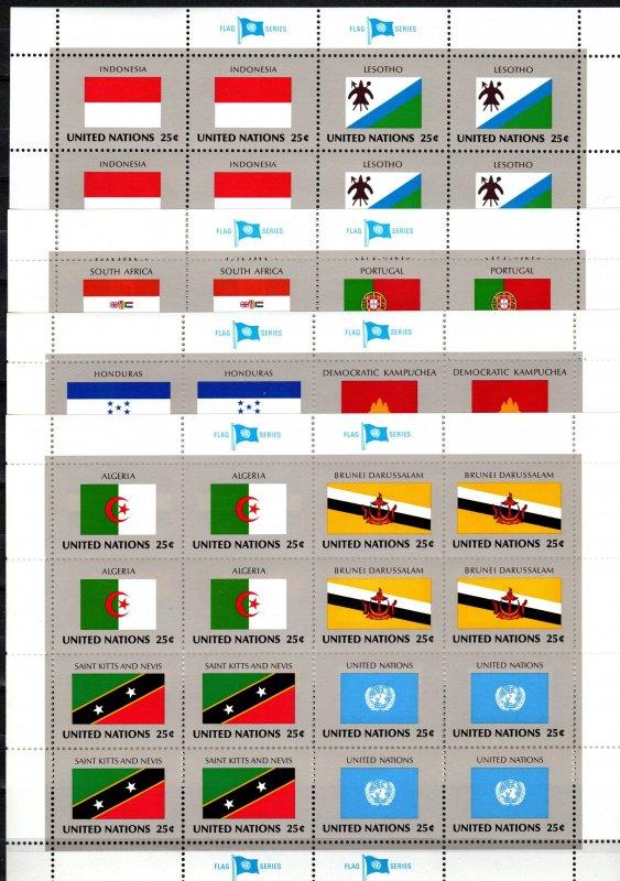 United Nations #554-69 MNH Flag Sheets CV $38.40 (X2298L)
