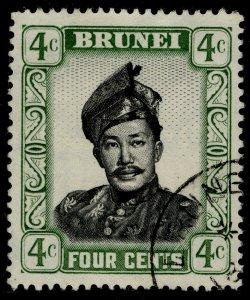 BRUNEI QEII SG103, 4c black & green, FINE USED.