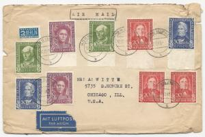 Germany Scott #B310-B313 #RA4 on Air Mail Cover w/ Letters December 17, 1949