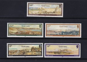 Guernsey  #320-324  MNH  1985  watercolors  by  Naftel