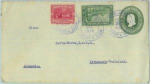 86001 - COSTA RICA - POSTAL HISTORY - STATIONERY Cover H&G #14  to GERMANY 1934