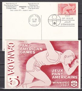 Canada, Scott cat. 472. Pan American Games Post Card. First day cancel. ^