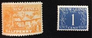 New Guinea #1 MNHOH VF and Netherlands (Dutch) New Guinea #1 MNHOG F/VF
