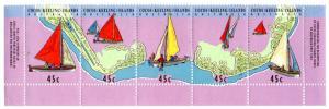 COCOS ISLAND 292 MH STRIP/5 SCV $5.25 BIN $2.75 BOATS