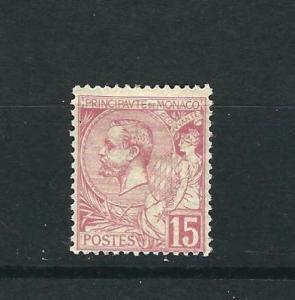 Monaco 17 Yv 15 15c Rose MHR Fine 1891 SCV $175.00