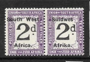 SOUTH WEST  AFRICA  1923  2d  POSTAGE DUE  PAIR  MLH ERROR  SG D3a